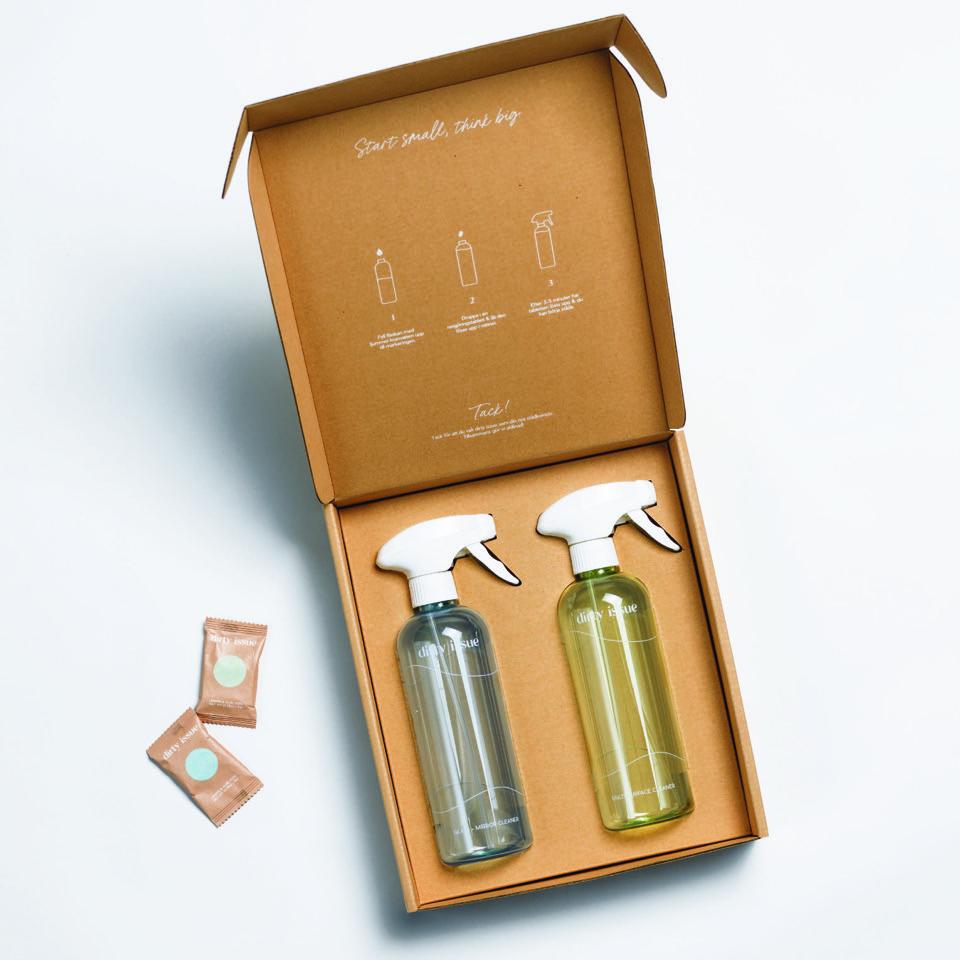 Dirty issue, återfyllningsbara flaskor rengöringsprodukter